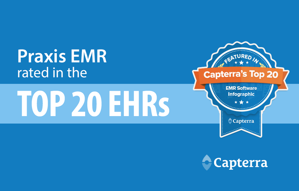 Capterra names Praxis EMR among the TOP 20 Most Popular EHR Software Products